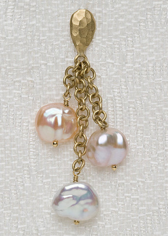 GoldPear Baroque CoinPearl Cascade Earring