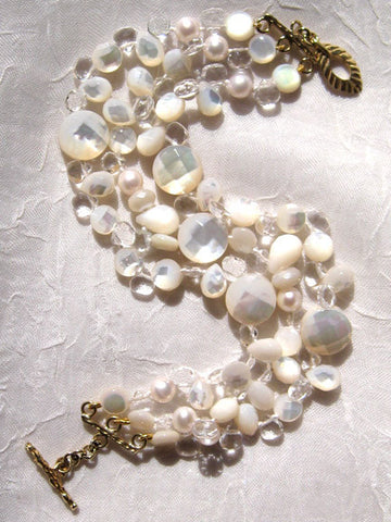 MoonGlow 3 Strand Bracelet (Crystal/Mother of Pearl/Pearl)