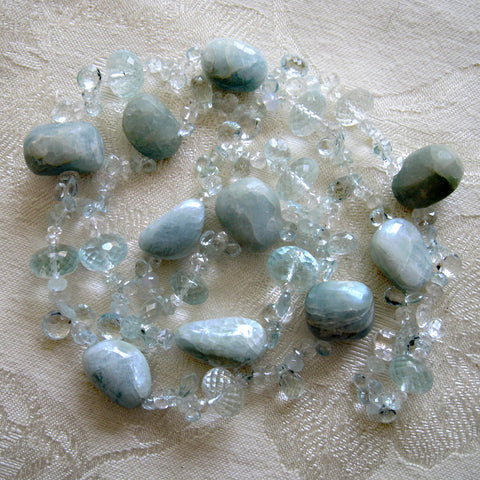 "Aquacade Tumbled Aquamarine Nugget 28"" OneofaKind Necklace"