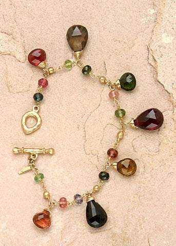 TourmalinePears GoldBall Bead Rapt Bracelet