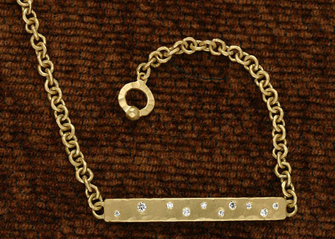 Diamond Bar Anchor Chain Bracelet(.15ctw)(18k)