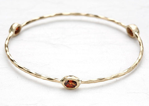 Spessartite Garnet 3 Oval Bangle(14k)