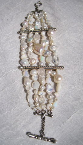 ArcticMoon 5 Strand Bracelet (crystal/moonstone/mother of pearl/opal/pearl)(silver)