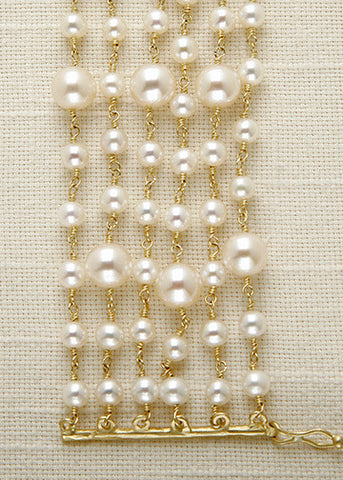 6 Strand Educated Pearl Bracelet(18k)