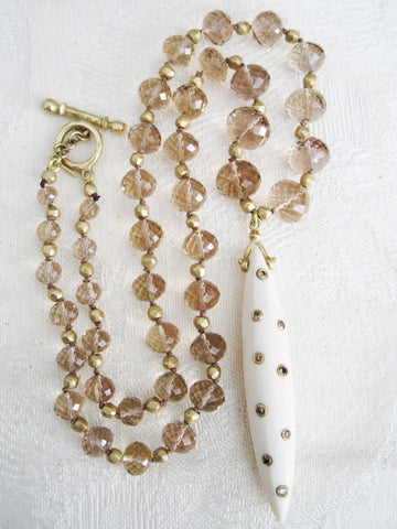 "OneofaKind Champagne Quartz GoldBall 17"" Necklace, Mammoth Ivory Icicle, Cognac Diamonds(.24ctw)(18k)"