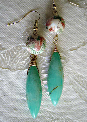 Chrysoprase Dragon Rapt Icicle Earring(14k)