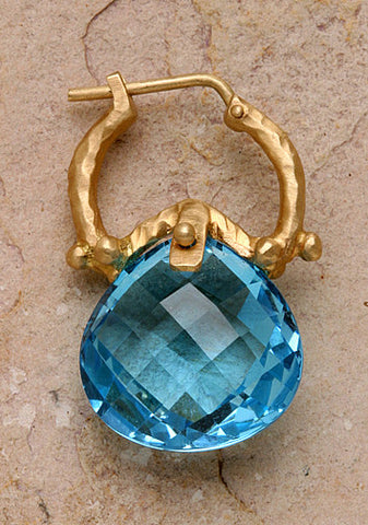 Blue Topaz Pear Whoop(14k)