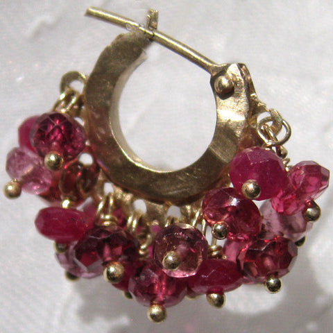 Rosy Double Fringe Baby Hoop(garnet/pink tourmaline/red spinel/ruby)(14k)