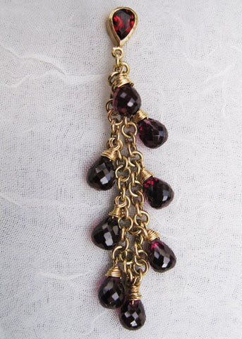 Garnet PearStone Looped RainChain Earring(14k)