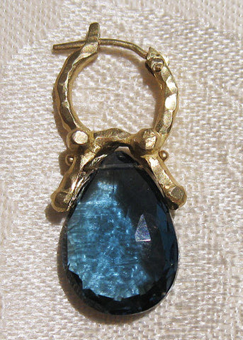 London Blue Topaz Teardrop Purse Hoop(18k)