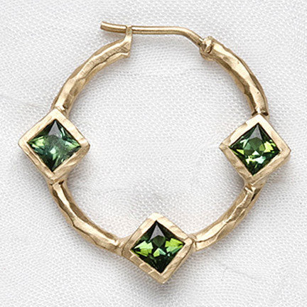 Green Tourmaline 3 Square 25mm Hoop(3ctw)(14k)