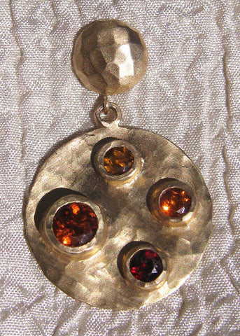 Autumn Disc GoldDome Earring(14k) (garnet/hessonite/spessartite) (OneofaKind)