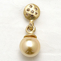 Cognac Diamond Disc Golden South Sea Pearl Earring(.57cttw)(18k)