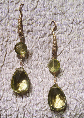 "Lemon Quartz Coin TearDrop Hammerwire Earring(2.25"")(14k)"