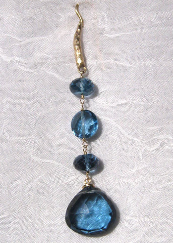 London Blue Topaz RainChain TearDrop Hammerwire(14k)