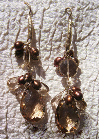 "Large Champagne Quartz Coin Bronze Pearl TearDrop Earring(2.25"")(14k)"
