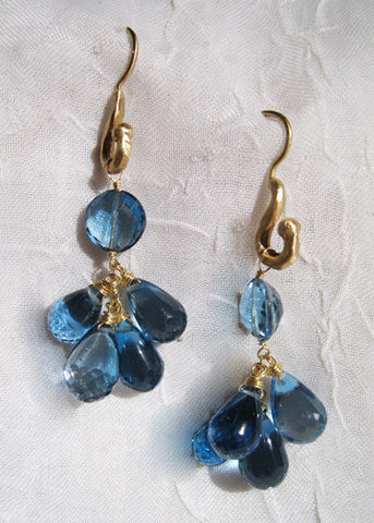 London Blue Topaz Jubilee Rainshower Earring(18k)