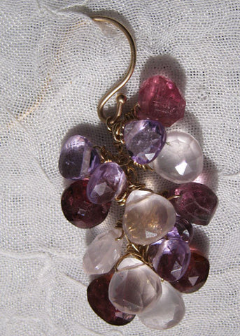 Royal Radiant PearVine Earring(14k) (amethyst/pink tourmaline/rose quartz)