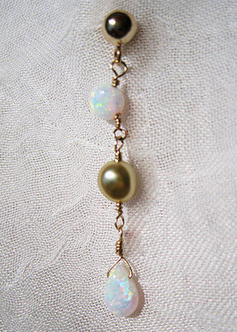Opal Golden Keshi Pearl GoldBall Earring(14k)