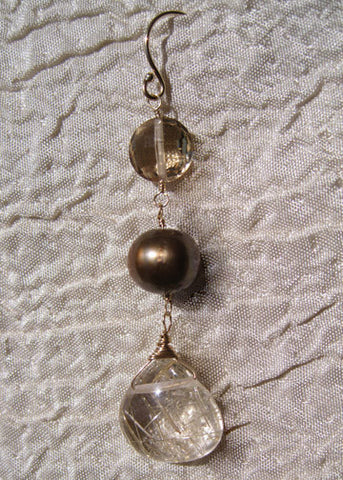 Mojave Dangle Earring (champagne quartz/pearl/rutile)(14k)