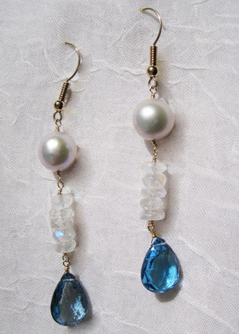 Pearl Rainbow Moonstone London Blue Topaz Teardrop Icicle Earring(14k)