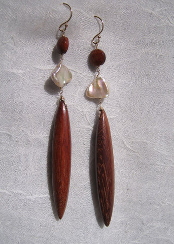 "Bloodwood Coin Pearl Icicle Earring(3.75"")(14k)"