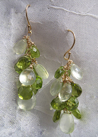 Amazonia Rainshower Earring(peridot/phrenite)(14k)