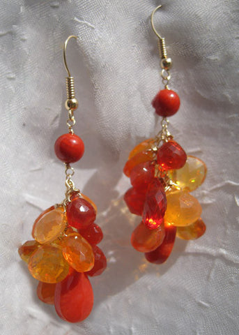 Sunset Rainshower Earring(coral/fire opal)(14k)