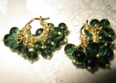 Forest Green Tourmaline Double Fringe Baby Hoops(18k)