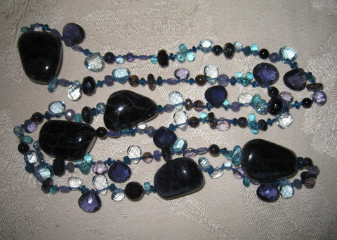 "Malibu 30"" Pacifica Shoreline Necklace (apatite/blue topaz/iolite/tanzanite)"