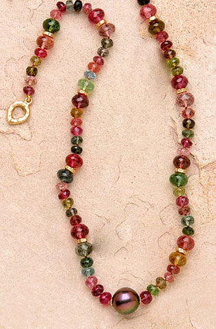 Tourmaline GoldRondell SouthSea Pearl Necklace(18k)