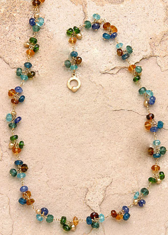 Mojave Rapt Double Drop KissMe Necklace (apatite/citrine/ c.diopside/sapphire/tourmaline)(14k)