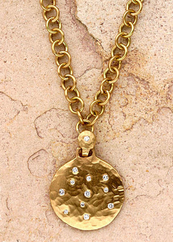 Diamond Disc Anchorchain Necklace(.20ctw)(18k)