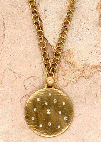 Larger Diamond Disc Anchorchain Necklace(.24ctw)(18k)