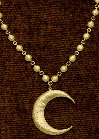 "Diamond Crescent Moon 18"" DiscChain(.32ctw)(18k)"