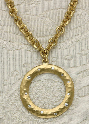 AnchorChain Necklace/ Diamond Flat Hoop Pendant(.14cttw)