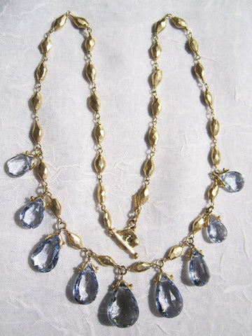 "Very Rare Blue Beryl Pear GoldDiamond 16"" Necklace(18k)"
