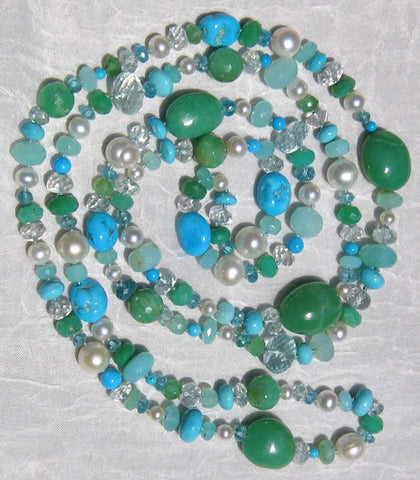 "Seacoast 44"" Concurrence (aquamarine/apatite/chrysoprase/ pearl/peruvian opal/turquoise)"