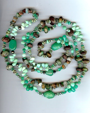 "Moss 60"" Meander (chrysoprase/pearl)"