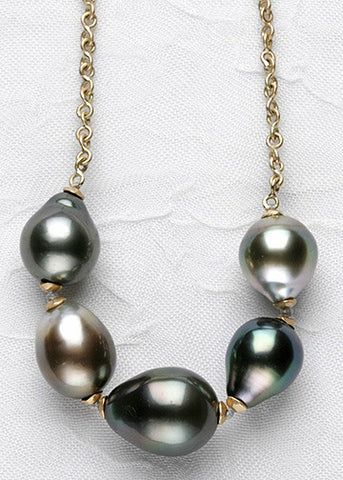 Tahitian Pearl 5 Atoll InfinityChain Necklace(18k)