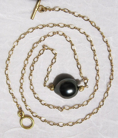 "Tahitian Pearl(10x12mm) 18"" InfinityCableChain(18k)"