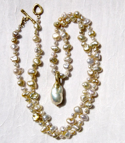 "Golden Southsea KeshiPearl 22"" Necklace Baroque Pearl Pendant(18k)"