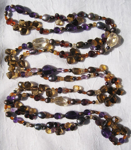 "Splendor 62"" Autumn Necklace (amethyst/citrine/garnet/peacock pearl)"