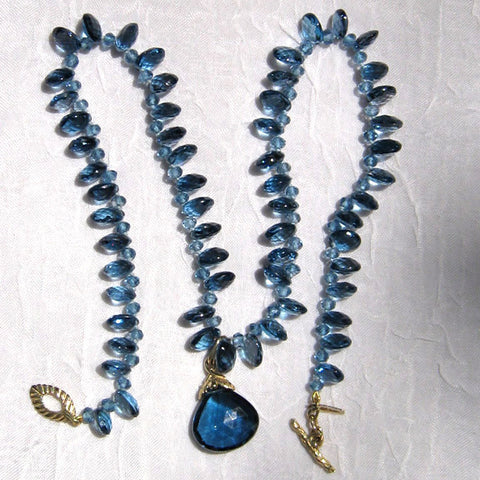 "Rare London Blue TopazJubilee 16"" Rainshower Necklace(18k) (OneofaKind)"