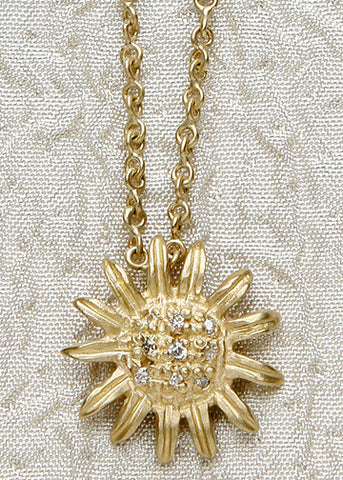 Diamond Sunflower InfinityChain(.09ctw)(18k)