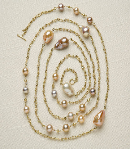 Rapt Rainbow & Peach Baroque Pearl 54 in. UnicornChain Opera(18k)