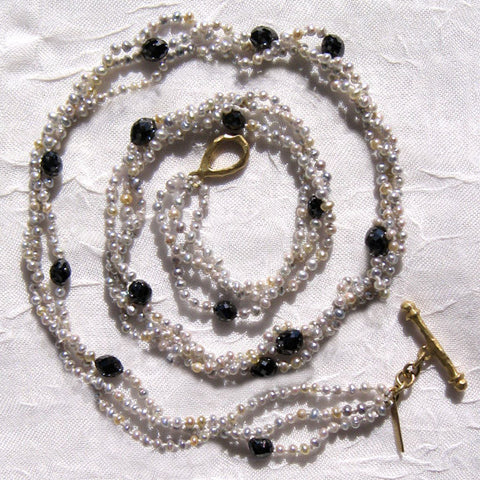 Baby Grey KeshiPearl BlackDiamond 3 Strand Necklace(7.5ctw)(18k)