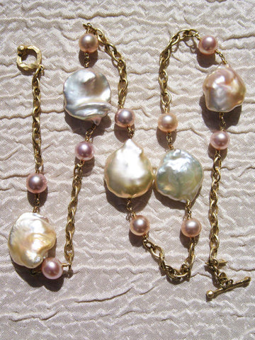"Baroque Coin & Pastel Cultured Pearl MarquisChain 16"" Necklace(18k)"