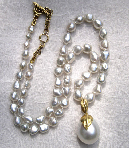 KeshiPearl SouthSea Necklace & Pendant(18k)