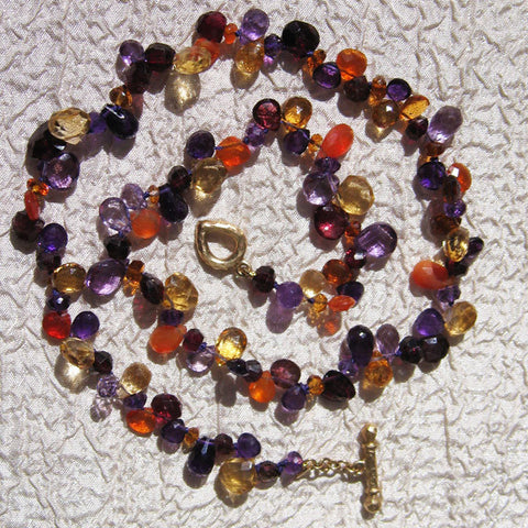 Autumn Splendor Pears Necklace(14k) (amethyst/citrine/fire opal/garnet)